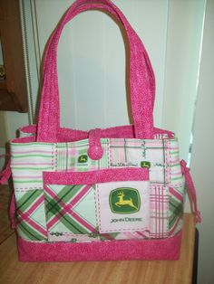 Quilted Bow Tucks Tote bag Pink John Deere by craftykids on Etsy, $38.00