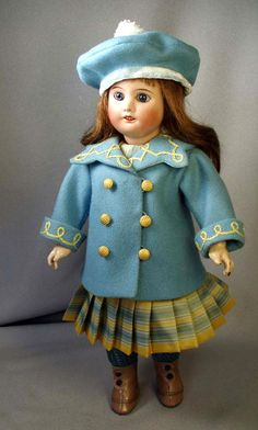 Bleuette Coat with embroidered collar over dress with pleated skirt, by House-of-Bleus