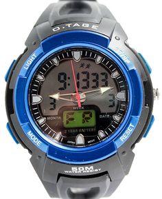 ブラック時計のケース日付アラームバックライトブルーベゼルメンズアナログデジタルウォッチAW378B