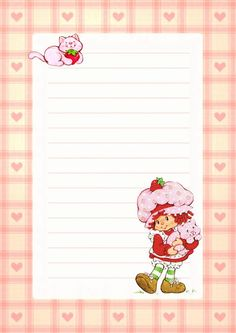 Printable Lined Paper, Free Printable Stationery, Lined Writing Paper, My Melody Wallpaper, Vintage Strawberry Shortcake Dolls, Hello Kitty My Melody, Notebook Paper, Rainbow Brite, Borders For Paper