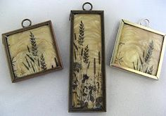 Pendants made by stamping onto glass and pouring Pearl UTEE into the Memory Frame.