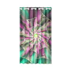 Pink Turquoise Abstract Floral Art Window Curtain 52