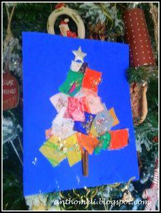 DIY christmas card anthomeli.blogspot.com: Χριστουγεννιάτικη κάρτα φτιαγμένη από κουρελάκια-10 μέρες ως τα Χριστούγεννα