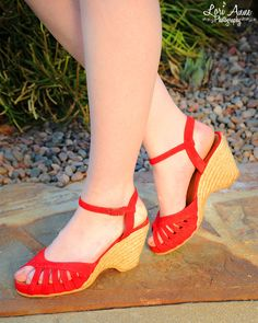 Kamielle Wedge in Red Leather