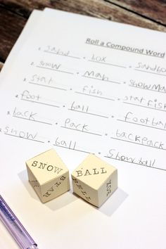 Roll a Compound Word Game - Happiness is Homemade