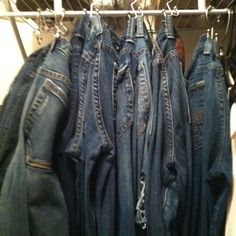 Shower curtain rings become jeans hooks - when you really, really hate to fold or hang up clothes