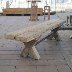 Repurposed Wood, Picnic Table, Outdoor Furniture, Outdoor Decor, Rooftop, Wood Ideas, Benches, Home Decor, School
