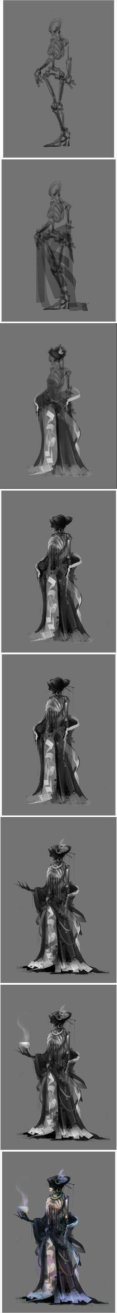 插画家园:这样的绘画步骤很帅~【作者 @...@晓晓空采集到教程(50图)_花瓣插画