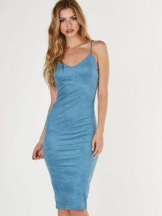 Suede Slip Midi Dress