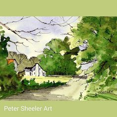 "https://flic.kr/p/qYws6z | Miniature Rural landscape. 2.5x""x3.5"". Sold on auction at www.ebay.ca/usr/sheelerart #art #artist #original #watercolor #watercolour #miniature #painting #aceo #ebay #paintingaday #ink #pen #waterbrush #winsornewtonmarker #farm #barn #shed #country #co 