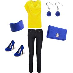 Yellow & royal blue, created by kris10ae87 on Polyvore-