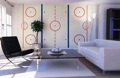 Ice Hockey Rink – high-quality wall murals with free delivery Boys Hockey Room, Hockey Man Cave, Hockey Nursery, Hockey Room Decor, Hockey Mom, Ice Hockey Rink, Man Cave Home Bar, New Room, Decoration