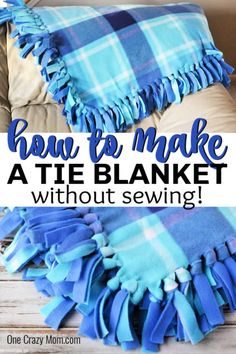 Learn how to make a fleece tie blanket for the perfect afternoon DIY activity. This no sew fleece blanket is so easy to make and perfect for gift giving. Fleece Blanket Edging, Fleece Tie Blankets, No Sew Blankets, Fleece Hats, Fleece Projects, Sewing Projects, Manta Polar, Make A Tie, Baby Sewing