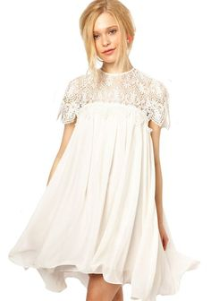 Sheinside Women's White Contrast Lace Short Sleeve Ruffle Dress (One Size, White)