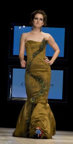 SALE Free Ship SAMPLE Size 4 Bronze Peacock Feather Strapless Mermaid Trumpet Couture Evening Gown P Prom Dress With Train, Christening Gowns, Silk Charmeuse, Prom Dresses, Formal Dresses, Trumpet, Evening Gowns, Wedding Gowns, Mermaid