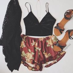 Floral Red Shorts w/ Spaghetti Strap Crop Top