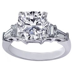 Cushion Cut diamond Engagement Ring setting with trapezoids and baguettes 0.60 tcw.