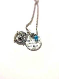 SaLe FREE colored stones add on option! Not all who wander are lost Necklace~