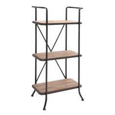 Perfect for storage or display in any room, the Metal/ wood 3-level Storage Shelf is a must-have. Display small decorative pieces or store books and other items to keep them out of the way.