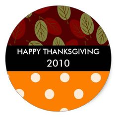 Thanksgiving leaves n dots strip black TG HAP... Classic Round Sticker