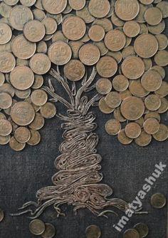 verschiedene Gebrauchsanweisung / Andere Arten von P . Creative Wall Painting, Diy Wall Art, Coin Crafts, Wood Block Crafts, Wedding Gift Wrapping, Wire Tree Sculpture, Coin Art, Mixed Media Scrapbooking, Homemade Art