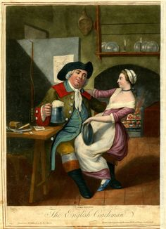 Satire: a coachman in the kitchen of a house with a pint of beer in one hand and a serving girl sitting on his knee; she holds a pewter platter. c.1770 Hand-coloured mezzotint