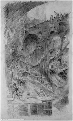 The Caverns of Isengard by John Howe (concept for The LotR movie)