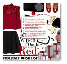 """MY Wish List"" by meyli-meyli ❤ liked on Polyvore featuring Red Fleece By Brooks Brothers, Emporio Armani, Polo Ralph Lauren, Tiffany & Co., Charlotte Olympia, Salvatore Ferragamo, Bulgari, Marc by Marc Jacobs, BERRICLE and Tory Burch"