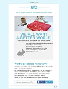 Welcome email from Ethical Ocean.