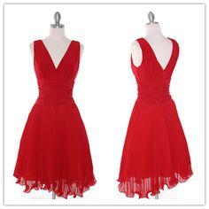 Red Short Prom Dresses 2016 New Arrival V-Neck