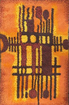 Swedish rug or ryamatta by Danish maker Van Guard Ege design 'Karelia Farve' Rya Rug, Latch Hook Rugs, Textiles, Maker, Carpet Design, Rug Hooking, Fiber Art, Danish, Rugs On Carpet