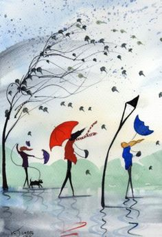 Original Watercolour Painting ~ A Sudden Gust 3d Art Drawing, Art Drawings, Rainy Day Pictures, Weather Art, Umbrella Art, Watercolor Pictures, Whimsical Art, Pictures To Paint, Anime Comics