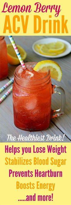 ACV DRINK - Berry Lemon Apple Cider Vinegar Drink Recipe / Join my Microbiome Group on Facebook! www.facebook.com/...