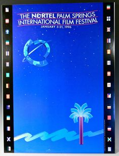 "Awesome vintage Film Festival poster measures  18"" across X  24"" high. It is mounted on foam board and is ready to frame. The poster is in very good condition, with bright colors, clean surface and some light corner bumps. This SEVENTH ANNUAL PALM SPRINGS INTERNATIONAL FILM FESTIVAL POSTER is dated JANUARY 5 - 21, 1996.    Because it is mounted on foam board, it can not be rolled for shipping. All items are very well packed. All items are sold as is and all sales are final. FREE SHIPPING to…"