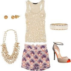 Super cute, silk plaid shorts, sequins tank and preppy pearls make for a fun, summer night out, outfit. Sofia Pearl Bib necklace is a fantastic add on to any jewelry wardrobe. Killer in the courtroom, works for a wedding, and for a night on the town. Love this look and want your own Polyvore set created? e-mail me- Stylist: Georgia Arnold- georgia.a.fisher@gmail.com  www.stelladot.com/georgiaarnold
