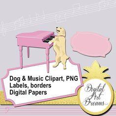 Dog Clipart Golden Retriever Playing Piano Clip Art Music