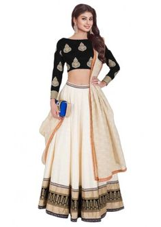 Bollywood Replica - Mouni Roy In White & Navy Blue Lehenga Choli - Navy Blue Lehenga, Black Lehenga, Silk Lehenga, Anarkali Gown, Indian Lehenga, Indian Dresses, Indian Outfits, Indian Clothes, Bridal Lehenga Online
