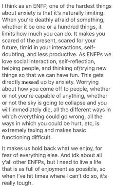 Enfp And Infj, Enfp Personality, Entp, Psychology Facts, Anxiety, Self, Inspirational Quotes, Enneagram 2, Words