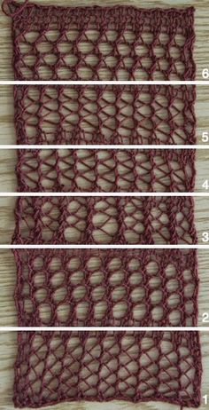 6 different knitting mesh stitches with patterns