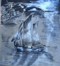 Vintage Pen and Ink and Pastel OOAK drawing of an Oriental Sailing Boat in the Moonlight Seascape Vintage Watercolor Vintage Oil Painting by FillyGumbo