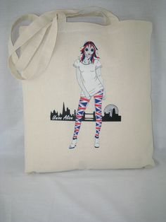 """Fun and light """"Union Alice"""" design on our 100% strong cottonTote Shoulder Bag, for those downtown shopping trips and more. etsy.com/uk/shop/AliceBrands ... o alicebrands.co.uk/Categories/30/Tote+Bags"""