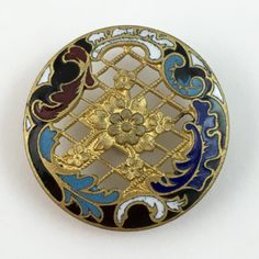 """¤ Screenback Enamel Button. A lovely Rococo style champleve enamel border frames the openwork screen design with center floral motif. Late 19th C. Medium size 1 1/16""""."""