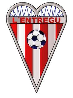 1997, L'Entregu CF (El Entrego, San Martín del Rey Aurelio, Asturias, España) #LEntreguCF #ElEntrego #Asturias (L18834) Red And White Stripes, Football Team, Rey, Badge, Spain, Soccer, Logos, Flags, Legends