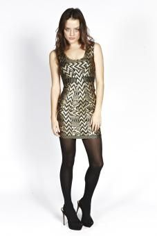 Liquorish Golden Girl It Gold Bandage Dress