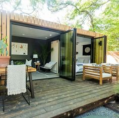 konteyner ev container homes Bachelorette Stars Jojo Fletcher and Jordan Rodgers Renovated a Shipping Container on Their New Show Cash Pad, And You Can Rent it on Airbnb Tiny House Cabin, Tiny House Living, Tiny House Design, A House, House Studio, House Stairs, Tiny House Plans, House Floor, Shipping Container Home Designs