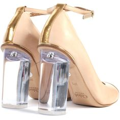 CHLOE Court shoes (2 415 PLN) ❤ liked on Polyvore featuring shoes, pumps, heels, women, beige leather pumps, ankle wrap pumps, leather high heel pumps, beige ankle strap pumps and transparent pumps