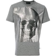 Philipp Plein metallic skull print T-shirt (7,515 MXN) ❤ liked on Polyvore featuring men's fashion, men's clothing, men's shirts, men's t-shirts, grey, mens metallic shirt, mens grey t shirt, mens cotton t shirts, mens crew neck t shirts and mens skull shirts