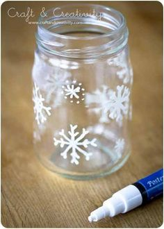 Christmas decoration I used white out and clear glue glitter to add some extra sparkle added some fake snow and a flameless candle and voila!! A Christmas nite lite :)   Follow our unique garden themed boards at pinterest.com/earthwormtec  Follow us on www.facebook.com/earthwormtec for great organic gardening tips www.earthwormtechnologies.com