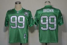 Mitchell and Ness Philadelphia Eagles 99 Jerome Brown Green Stitched Throwback NFL Jersey:$21