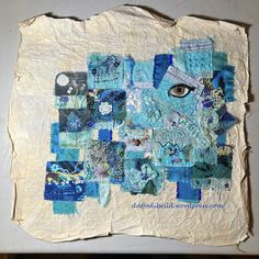 Squares Together - textile art on tea bags. Twinchies, Twinchie Art, textile collage Parchment Background, Crazy Patchwork, Daffodil, How To Raise Money, Textile Art, Squares, Collage, Textiles, Tea